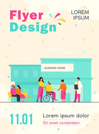 Nursing home residents. Old people walking outside with caregivers and visitors. Vector illustration for elderly care, age, retirement, hospice concept