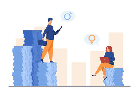 Earnings gender discrimination. Man and woman getting different salary. Flat vector illustration. Inequality, injustice, finance concept for banner, website design or landing web page