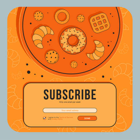 Newsletter design with baking. Pastry, donut, croissants on tray vector illustration with subscribe button, box for email address Street bakery concept for subscription letter design