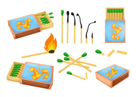Colorful matchsticks and matchboxes flat illustration set. Cartoon sulphur burnt and burning matches isolated vector illustration collection. Safety and fire heat concept Ilustração