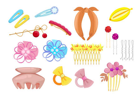 Stylish hair accessories flat illustration set. Cartoon different head bands, plastic clips and hoops with flowers isolated vector illustration collection. Fashion and hairstyle concept