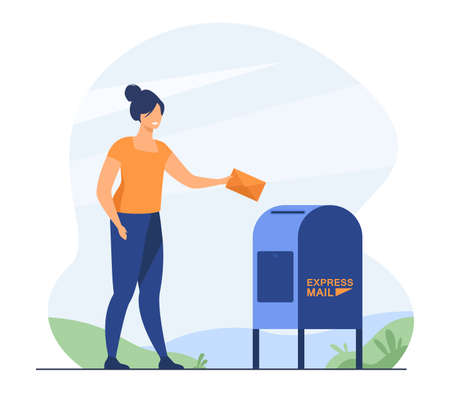Woman sending paper letter. Sender inserting envelope to mailbox. Flat vector illustration. Express mail, postal service lifestyle concept for banner, website design or landing web page