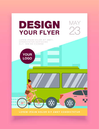 Bus, taxi and cyclist driving on city road. Transport, bicycle, car flat vector illustration. Traffic and urban lifestyle concept for banner, website design or landing web page