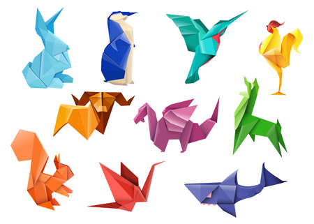 Creative Japanese origami flat item set. Cartoon colorful polygon hare, bird, dragon, bull, and squirrel isolated vector illustration collection. Paper animals and art craft hobby concept