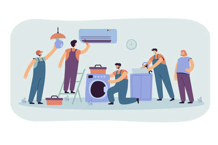 Handymen repairing clients home appliance. Service man end electrician fixing washing machine, air conditioner, plumbing equipment. Vector illustration for domestic work, maintenance concept