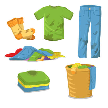Dirty clothes laundry steps. Jeans , pants, socks with muds, pile of clothes in basket, stack of clean shirts and t-shirts. Flat vector illustrations for cleanliness, household, hygiene concept