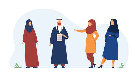 Muslim couple concluding marriage contract. Agreement, wife, husband flat vector illustration. Tradition and relationship concept for banner, website design or landing web page