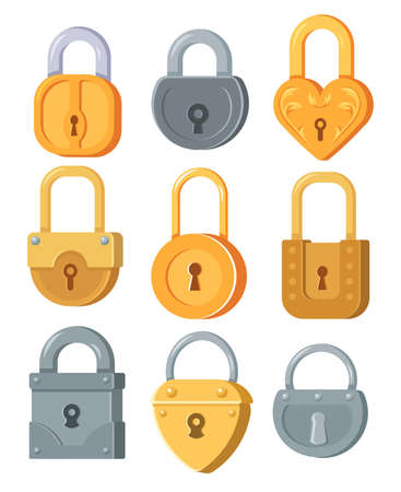 Metal padlocks of different forms flat illustration set. Cartoon lock for safety and security with secure mechanism isolated vector illustration collection. Encryption and protection concept
