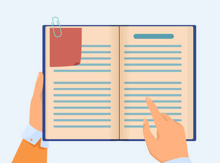 Hand of manager checking notes in notebook. Business professional with book planner planning tasks. Flat vector illustration. Management concept for banner, website design or landing web page