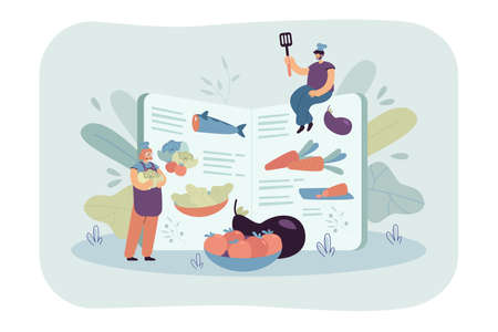 Tiny chefs cooking healthy food according to recipe book, preparing fresh ingredients for organic meal menu. Vector illustration for restaurant menu, healthy eating, culinary concept Vektorgrafik