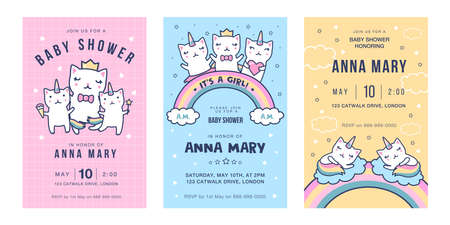 Invitation cards with caticorns set. Cute dancing baby unicorn cats with rainbow tails having fun vector illustrations with text. Baby shower party concept for flyers and postcards design 向量圖像