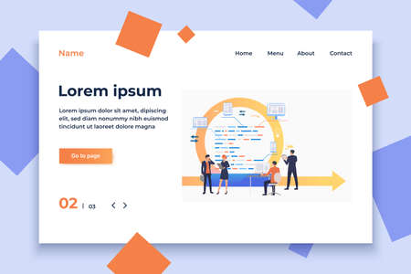 Scrum team working on tasks. Cycle arrow, development, process. Business concept. Vector illustration can be used for topics like teamwork, communication, planning