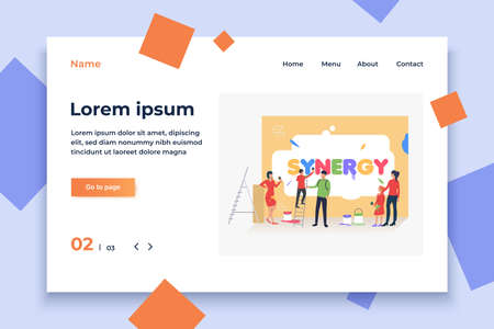 People writing word synergy on wall. Cooperation, management, teamwork concept, presentation slide template. Can be used for topics like business, management, marketing