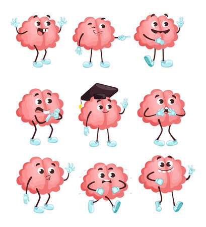Trendy cute brain in different poses flat illustration set. Cartoon brainy character emotions isolated vector illustration collection. Brainpower, mind and intelligence concept Vetores