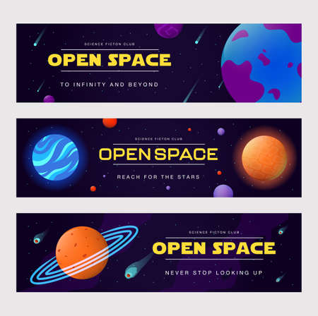 Open space banners set. Planets, orbits, comets, asteroids, stars vector illustrations with text. Science fiction club, education, cosmos studying concept for flyers and greeting cards design Vettoriali