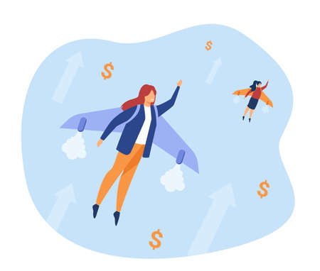 Happy businesswomen flying on jet backpack. Money, growth, increase flat vector illustration. Business success and achievement concept for banner, website design or landing web page