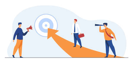 Successful businessmen reaching target. Manager, arrow, goal flat vector illustration. Achievement and success concept for banner, website design or landing web page 向量圖像