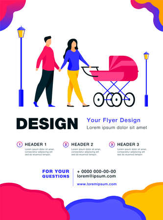 Happy couple walking in autumn park with buggy. Pram, family, baby flat vector illustration. Weekend and holiday concept for banner, website design or landing web page