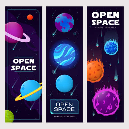 Open space vertical banners set. Planets, orbits, comets, asteroids, stars vector illustrations with text. Science fiction club, education, cosmos studying concept for flyers and greeting cards design