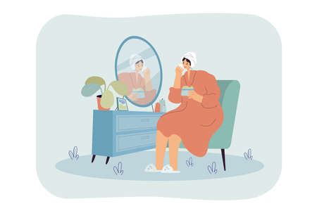 Young woman sitting in front of mirror and washing, cleansing or moisturizing her face skin in morning. Cartoon colorful vector illustration for daily personal care, hygiene, routine skincare concept Vecteurs