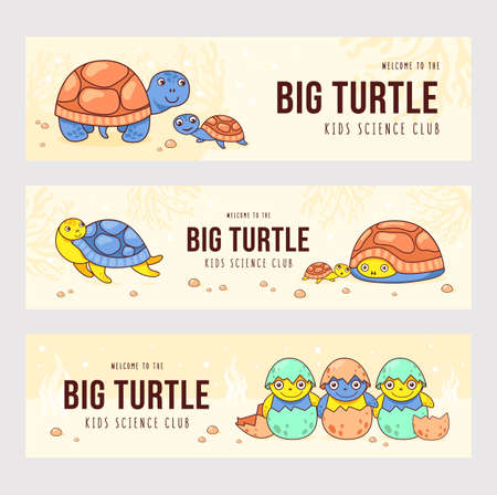 Modern banner designs with lovely cute turtles. Brochures for kids science club with little turtles. Marine wildlife and animals concept. Template for poster, promotion or web design