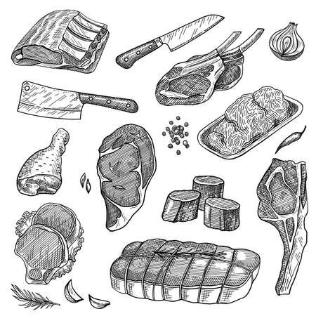 Ground meat, beef steak, pork ribs, sirloin, turkey leg, knives set. Food products vector illustration. Hand drawn elements collection. Butcher shop concept Vector Illustratie