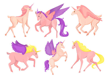Set of little cute pink pegasus. Cartoon vector illustration. Child collection of beautiful fantasy ponies, magic pegasuses, unicorns with wings. Fairytale, myth concept for print, design, apps