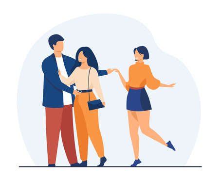 Man cheating his girlfriend with another woman. Love, infidelity, truth flat vector illustration. Relationship and adultery concept for banner, website design or landing web page Vetores