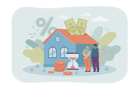 People buying home with mortgage loan flat vector illustration. Young couple paying credit to bank for being owners of private house property. Mortgage and rent concept for landing page or design