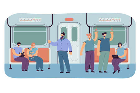 Passengers in subway or underground car interior. Flat vector illustration. Cartoon people riding subway, bus or train. Public transport, transportation, metro concept for landing page