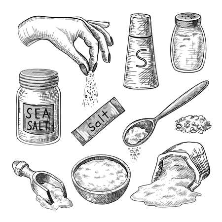 Sea salt engraved illustrations set. Hand drawn sketch of glass bottles, packages, bag, bowl, spoons with salt, hand seasoning dish on white background. Cooking, spice, health concept