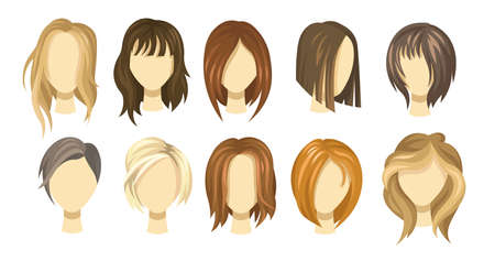 Female hair style collection. Blond, brown and ginger haircuts for girls. Short and long hair wigs for young women. Illustration set for stylist, model or hairdressing concept Ilustración de vector