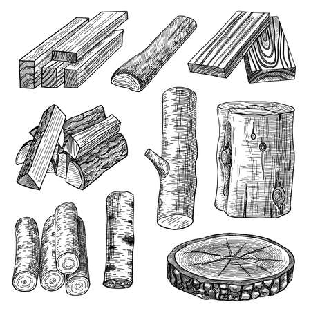 Cut logs, firewood and planks engraved vector illustrations set. Hand drawn sketch of wooden materials, trunk, stump, timber, pieces of tree, chopped wood on white background. Lumber, timber concept Vecteurs