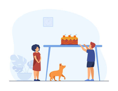 Cute little kids and dog looking at cake on table. Sweet, sugar, dessert flat vector illustration. Pastry and childhood concept for banner, website design or landing web page Vettoriali