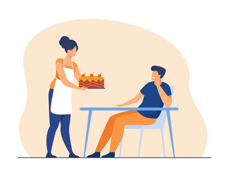 Cheerful wife baking cake for her husband. Apron, table, cook flat vector illustration. Bakery and family concept for banner, website design or landing web page Vettoriali