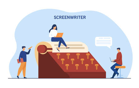 Tiny people surrounding giant typewriter. Paper, screenwriter, laptop flat vector illustration. Writing and literature concept for banner, website design or landing web page
