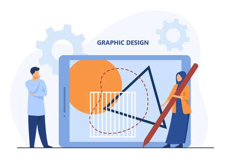 Tiny people creating graphic design on giant tablet. Stylus, creation, art flat vector illustration. Digital technology and profession concept for banner, website design or landing web page Ilustração Vetorial