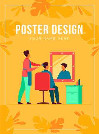 Men sitting in barbershop isolated flat vector illustration. Cartoon hairdressers doing haircut for male clients in chair. Hairdressing salon and beauty parlor concept