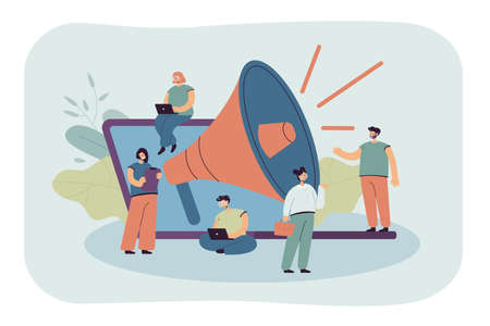 Cartoon tiny managers with giant loudspeaker and laptop. Flat vector illustration. Young people doing business and marketing, attracting customers, promoting goods. Advertisement, marketing concept Vecteurs