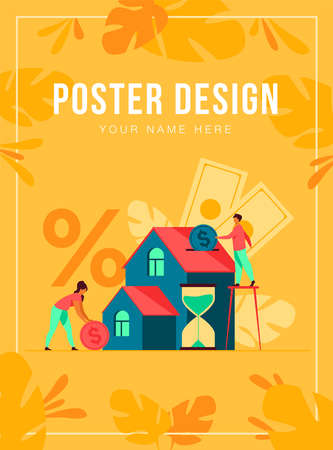 Tiny people buying house in debt isolated flat vector illustration. Abstract young couple investing money in property. Mortgage loan, ownership and savings concept
