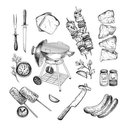 Food and grill for barbeque engraved illustrations set. Hand drawn sketch of grill, meat, beef, sauce, vegetables isolated on white background. Barbeque party, cafe, restaurant, grilled food concept