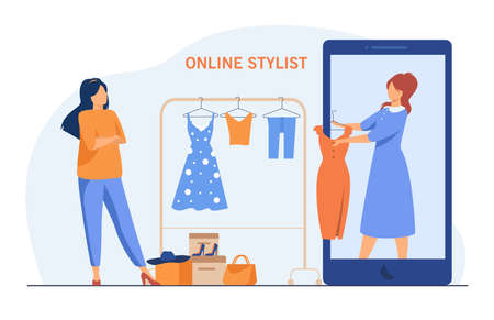 Woman asking for advice from online stylist. Smartphone, dress, clothes flat vector illustration. Fashion and choice concept for banner, website design or landing web page Ilustracje wektorowe