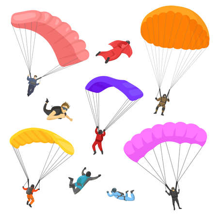 People skydiving with parachutes vector illustrations set. Cartoon parachutists falling with equipment isolated on white background. Extreme sports, skydiving, activity, adventure, adrenaline concept Ilustración de vector