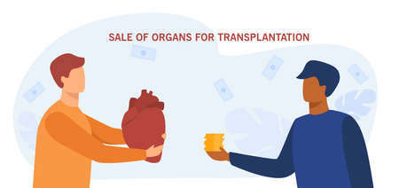 Buying and selling human organs for further transplantation. Flat vector illustration. Two cartoon men exchanging money and giant human heart. Transplantation, black market, business, medicine concept Vektoros illusztráció