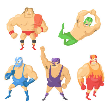Cartoon set of Mexican wrestler fighters in masks. Vector illustration. Angry, gloomy wrestlers in colorful suits, in different poses during fight. Fight, wrestling, sport concept for banner design