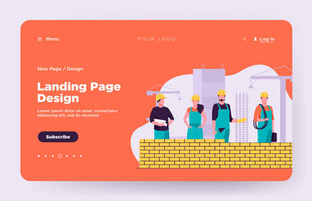Professional builders making brick wall. Site, helmet, constructor flat vector illustration. Construction and engineering concept for banner, website design or landing web page