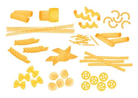 Different types of Italian pasta flat vector illustrations set. Raw macaroni, penne, farfalle, ziti, fusilli, spaghetti isolated on white background. Italian cuisine, pasta, food, restaurant concept Ilustración de vector