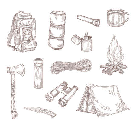 Hiking equipment hand drawing vector illustration set. Engraved travel backpack, knife, axe, mug and camp tent vintage sketch. Tourism and adventure concept