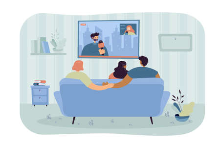 Boyfriend secretly cheating on girlfriend. Couple with friend watching news on sofa, man holding hands with other woman flat vector illustration. Betrayal, cheating concept for banner, website design Vektorové ilustrace
