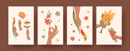 Set of contemporary art posters with floral arrangement theme. Vector illustration. .Hands holding bouquets of wildflowers. Floral decor, nature, flower, floristry concept for banner, postcards design